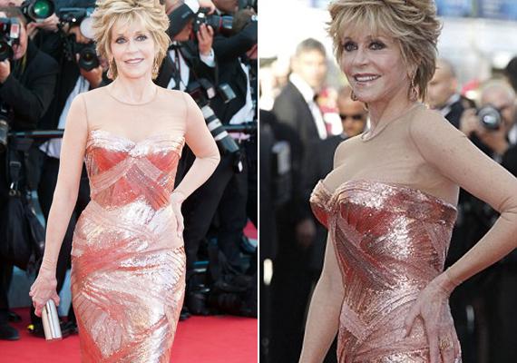 2012-ben, a cannes-i filmfesztiválon viselte ezt a rózsaszín flitteres, erősen dekoltált ruhát.