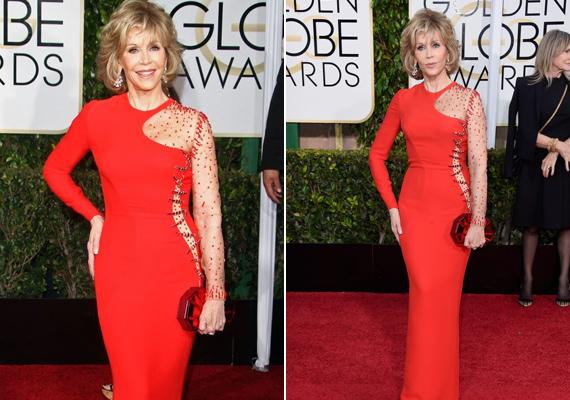 Az idei Golden Globe-on sem volt szégyenlős, szűk, piros ruhában érkezett a vörös szőnyegre.