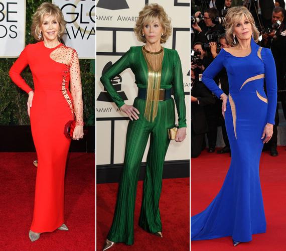 Jane Fonda alakját világszerte milliók irigylik a mai napig. A bal szélső fotó a 2015-ös Golden Globe-díjátadón készült, a középső a Grammy-gálán, a jobb oldali pedig Cannes-ban, májusban.