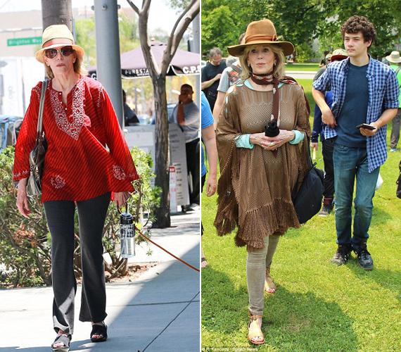 A bal oldali fotó alig egy hete készült a színésznőről, kutyája akkor is vele volt. A jobb oldali kép július elején került fel az internetre. Jane Fonda ebben a szettben tiltakozott a klímaváltozás ellen. A háttérben az unokája látható.