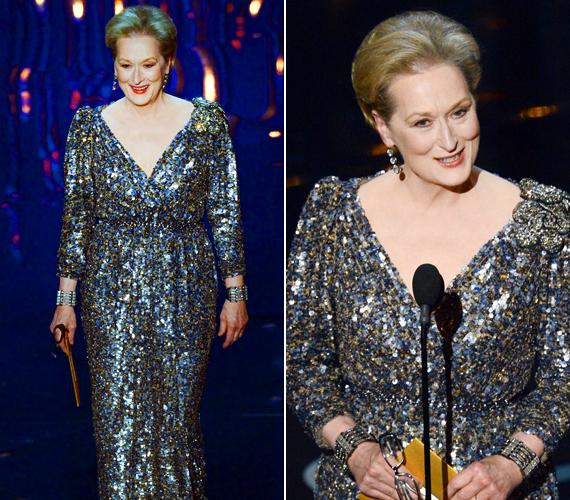 A 63 éves Meryl Streep egy mélyen dekoltált ruhát választott, ám sok társától eltérően ő nem lett ettől közönséges.