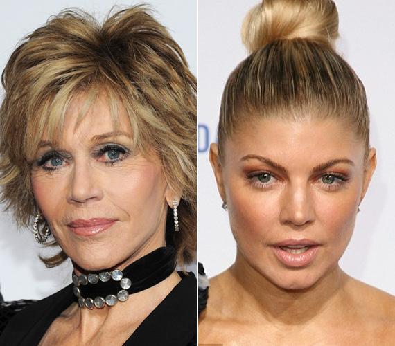 Jane Fonda a jó ízlés keretein belül él a szépészeti műtétekkel, míg Fergie már a harmincas éveire merevre botoxoltatta az arcát.
