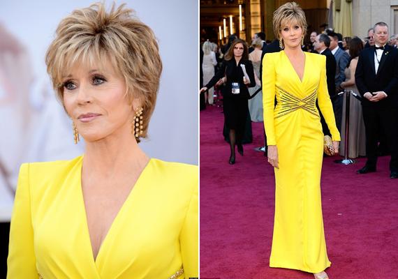 Jane az Oscar-gálára ebben a sárga ruhában érkezett. Az estélyi élénk színét ellensúlyozta a ruha kifinomult eleganciája, ami annyira jellemző a színésznőre is.