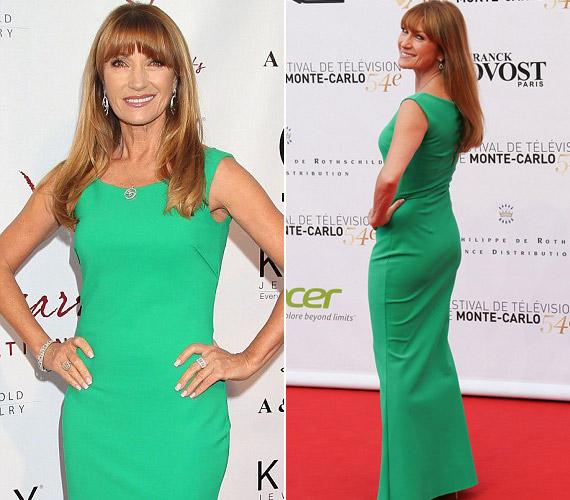 A testét követő zöld ruha kiemelte irigylésre méltó alakját.