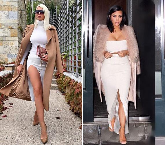 Megint csak Jelena posztja volt előbb, melyben a fehér, ultranőies ruhát bézs kabáttal kombinálta.