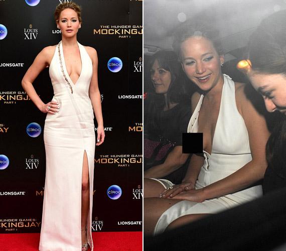 De a bulira menet Jennifer Lawrence is elfelejtette, hogy dekoltázsa mindent megmutat.