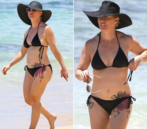 Jennie Garth nemcsak fiatalos alakját mutatta meg, hanem vadonatúj és óriási új tetoválását is, amely rózsákat ábrázol.