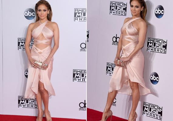 Még egy ruha az American Music Awardsról, ezúttal 2014-ből. Ennél a púderszínű Reem Acra darabnál is több a kivágás, mint az anyag.