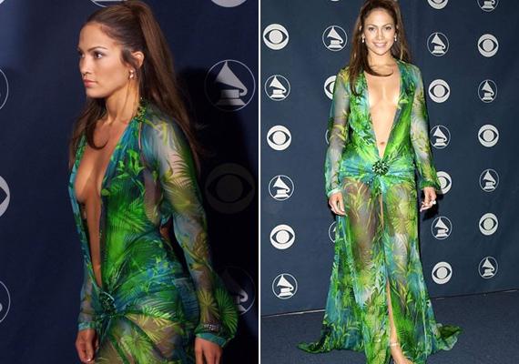 Sok ruhára mondják, hogy köldökig kivágott, de ez a smaragdzöld Versace darab tényleg combtőig ketté van hasítva, így nem sokat rejt el a híresség bájaiból.