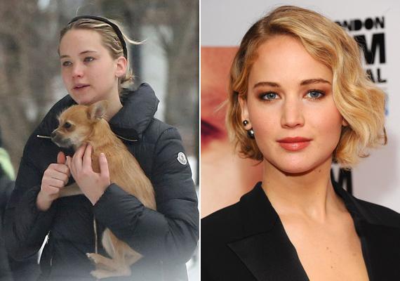 """Jennifer Lawrence """"lány a szomszédból"""" típus, amit smink nélküli arca és kedvenc kutyusa még jobban elhitet velünk."""