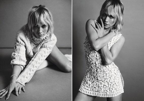 A fekete-fehér fotók kifinomultak, ízlésesek, de egyben kacérak is: az énekeső miniruhája alá fehérneműt sem vett fel.