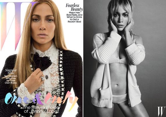A W Magazin címlapján Jennifer Lopez Chanel zakókabátot, egy áttetsző csipkecsodát, alatta pedig egy fekete melltartót visel. Az újság belső oldalán megmutatja merészebb oldalát is, bugyiban és melltartóban pózolt a fotósoknak.