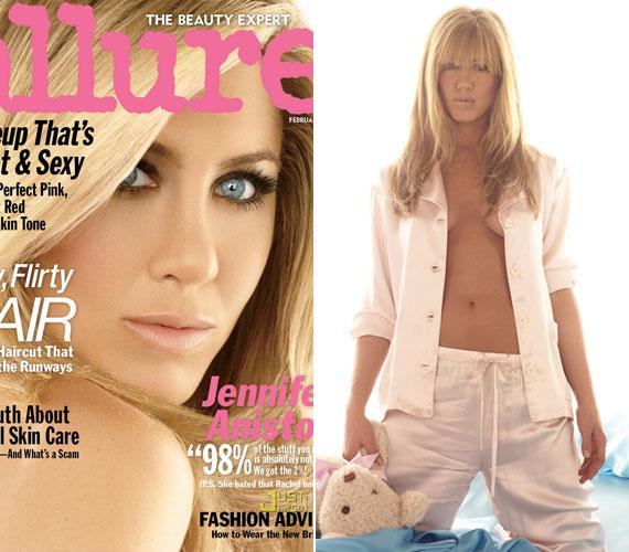 Jennifer Aniston januárban az Allure magazin címlapján pózolt, az egyik fénykép kedvéért pedig még melltartójától is megszabadult.