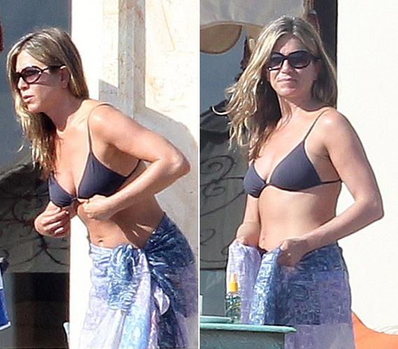 A csinos színésznő csupán egy sötétkék bikinit és egy vékony strandkendőt viselt a mexikói nyaraláson.