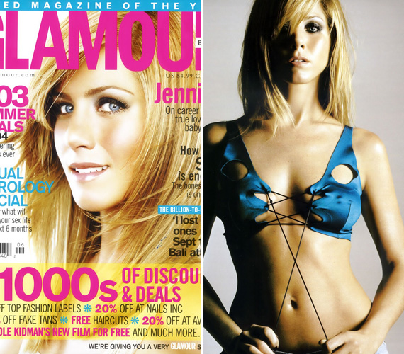 A Glamour egyébként nagyon kedveli Jennifert címlaplányként, 2008-ban még egy szexis, fürdőruhás fotózásra is rávették.