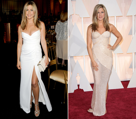 A People magazin értesülései szerint Jennifer Aniston nem fehér ruhát választott az esküvőjére és a csipkéről, illetve más díszítésekről is lemondott. Menyasszonyi ruhája krémszínű, egyszerű és elegáns volt. A magazin arra tippel, olyasmi lehetett, mint a sztár itt látható ruhái.