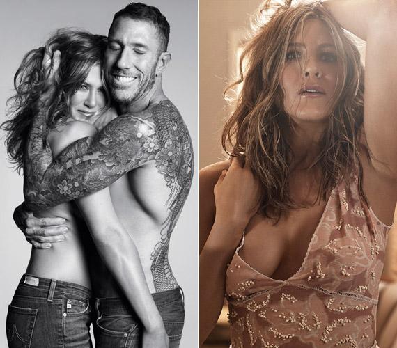 Jennifer Aniston félmeztelenül is bevállalta a fotózást, barátja és fodrásza,Chris McMillan takarja kezével.