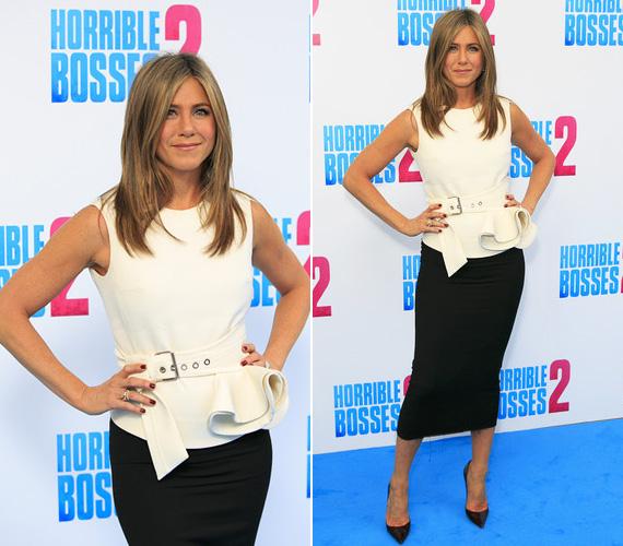 Ugyanezen a napon korábban Jennifer Aniston a Förtelmes főnökök 2 sajtótájékoztatóján is részt vett a londoni Corinthia Hotelben, ahol fekete ceruzaszoknyában és fehér felsőben jelent meg.