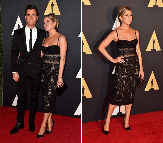 November 8-án este párjával, Justin Theroux-val lépett a vörös szőnyegre az Akadémia 2014 Governors Awards-gálája alkalmából Hollywoodban, a színésznő egy gyönyörű fekete csipkeruhát viselt.