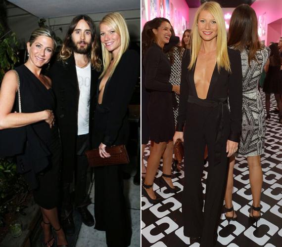 Jared Leto és Jennifer Aniston éppen Gwyneth Paltrow-val beszélgetett. A szőke színésznő a buli előtt még megjelent egy divatbemutatón is.