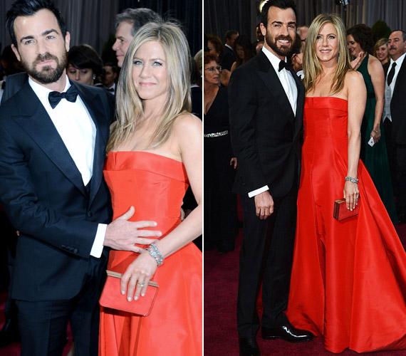 Az Oscar-gála után is kérdésekkel bombázták a színésznőt, mivel párja, Justin Theroux gyanúsan fogta a hasát.