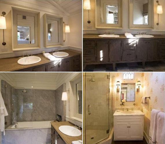 A zuhanykabinnal és káddal felszerelt két fürdőszoba is beillik egy-egy szobának - mindkettőt otthonossá teszi a sok faelem.