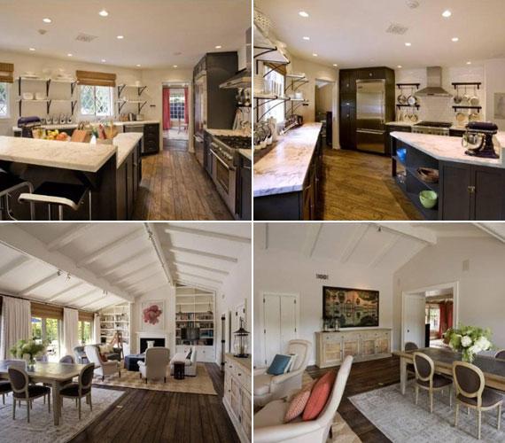 A mennyezet és a padló is fával borított. A pazarul felszerelt konyhában és az étkezőben szépen érvényesül a fehér és a fekete kontrasztja.