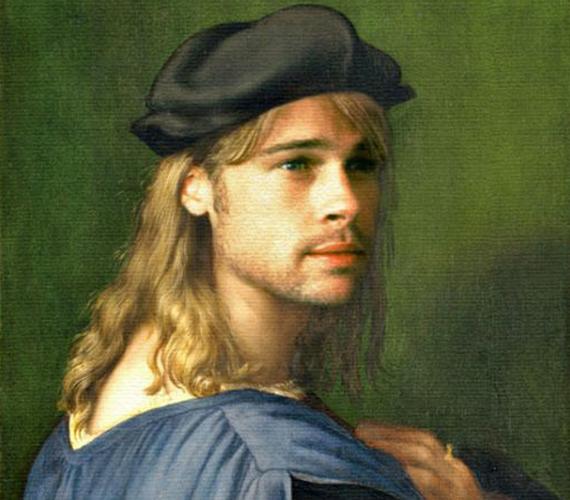 Brad Pitt naivan átszellemült arccal.