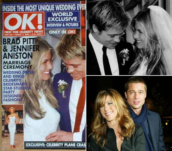 2000. július 29-én pazar esküvőn egybekelt Brad Pitt-tel, kevesebb mint öt év múlva azonban a pár különköltözött. Pitt azóta nagycsaládos apuka lett Angelina Jolie oldalán, Anistonnak viszont még az esküvőt sem sikerült tető alá hoznia Justin Theroux forgatókönyvíróval és színésszel.
