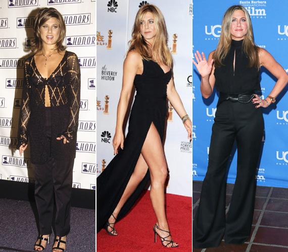 1994-2010-2015: nagy utat járt be Jennifer Aniston stílusa, amíg a kissé piacos kinézetű csipkés felsőtől eljutott a 2010-es Golden Globe magasan sliccelt ruhájáig, majd a zárt, mégis nőiesen szexi nadrágos összeállításig, amelyet január végén viselt a spanyol Montecito díjátadó gálán. Ami egyértelműen látszik: 20 év elteltével is szereti a fekete színt.