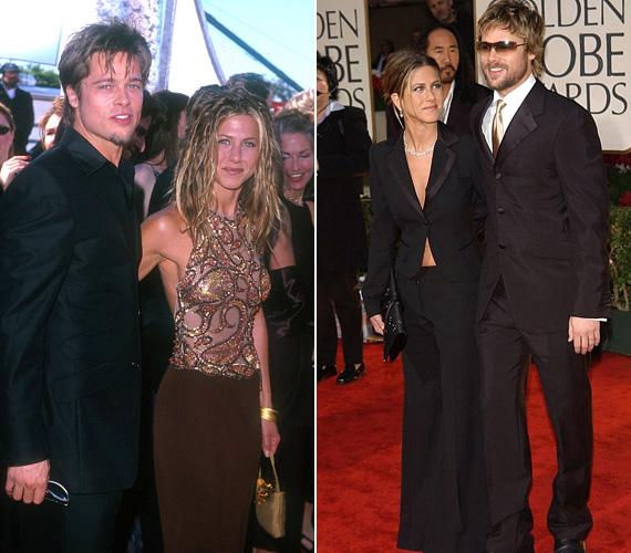 Brad Pitt és a nagy szerelem: 2000 és 2005 között ők voltak az álompár, a sztáros rendezvényeken is együtt jelentek meg. Bár az 1999-es Emmyn azt a rasztahajat nem igazán értjük, de biztos ez volt a színésznő lázadó időszaka. A 2002-es Golden Globe-ra viszont összecsiszolták a stílusukat.