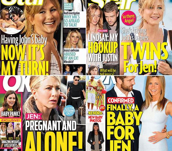 Csak négy a számtalan címlap közül az utóbbi évekből, amely már beharangozta állítólagos terhességét. Ezek alapján mindegyik pasijától babát várt, volt, amikor egyenesen ikreket. És akad olyan címlap is, amelyik szerint bár éppen egyedül van, de csak azért is megszüli a babát.