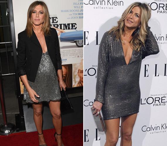 A fémes ezüst anyag még a legvékonyabbakon is kihangsúlyozza a domborulatokat, azokon a testtájakon is, ahol nem kellene. Így aztán nem csoda, ha valahányszor Jennifer Aniston ilyen ruhába bújik, rögtön világgá kürtölik, hogy terhes.