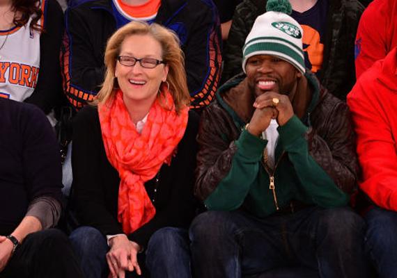 Meryl Streep legjobban 50 Centtel szeret kosármeccsre járni. Ki hitte volna, hogy a két gengszter ilyen jól összebarátkozik?