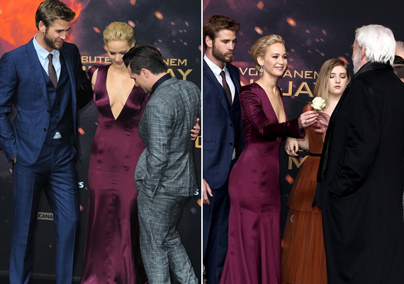 Természetesen a színésznő dekoltázsa volt a téma egész este. Az egyetlen úriember a Snow elnököt alakító Donald Sutherland volt, aki szerepéhez hűen egy rózsával kedveskedett Jennifernek.
