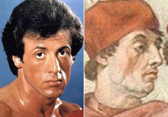 Sylvester Stallone ésIX. Gergely pápa.