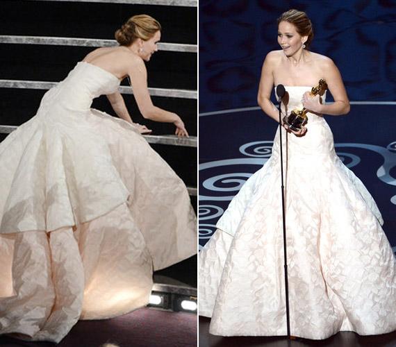 Az Oscar-díj átadón a legkínosabb pillanat az volt, amikor hosszú ruhájában elbotlott, elmondása szerint ez beárnyékolta az elnyert díjért érzett örömét.