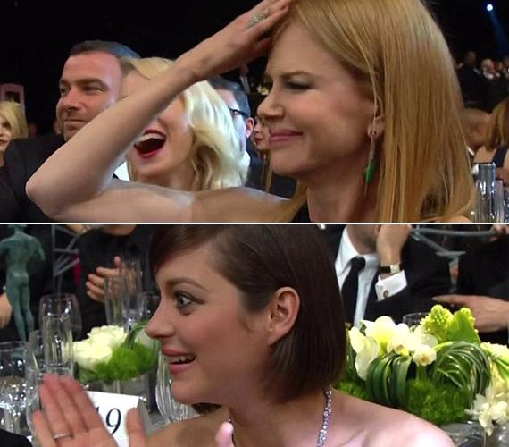 Nicole Kidman és Marion Cotillard így reagált, amikor észrevették a nagy szakadást.