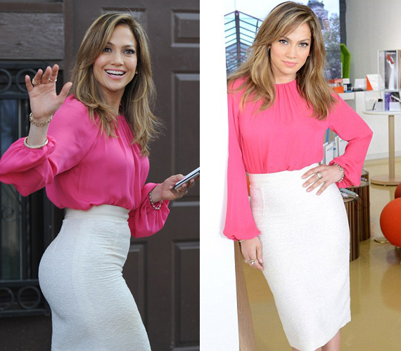 A testre simuló, fehér szoknya jól kiemeli a 43 éves énekesnő idomait, a pink felső pedig különösen jól állt barna hajához.