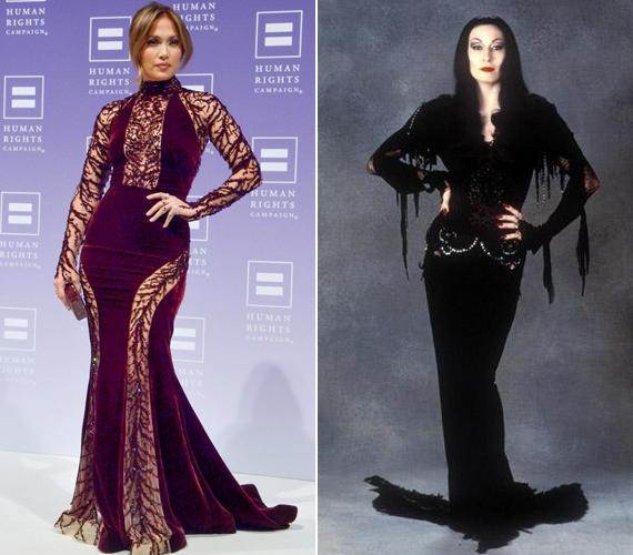 Az Addams-family-ből ismert Morticia szerette az ilyen stílusú ruhákat, mint amilyenben most Jennifer Lopez megjelent.