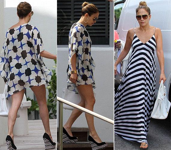 A tunikái és strandruhái is csinosak, ugyanakkor kényelmesnek tűnnek. Nem mondható el ugyanez erről a szintén Miamiban viselt, dögös egybetalpú cipőről.