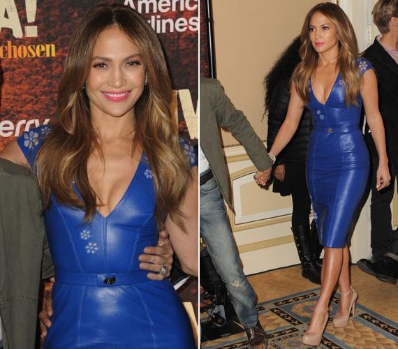 Amikor ezt a kék bőrruhát viselte, már szent volt a béke közte és volt férje, Marc Anthony között.