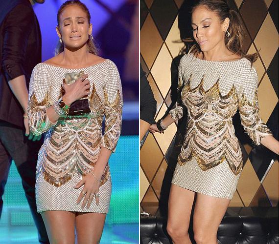 Jennifer Lopez a díjátadón könnyekig hatódott, de utána már a kanapéra állva bulizott miniruhájában.
