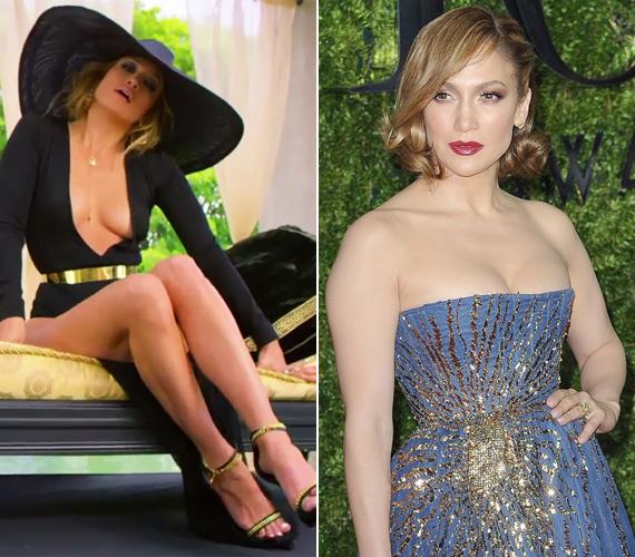 Jennifer Lopez a klipforgatáson ezt a fekete, szinte köldökig kivágott ruhát viselte, míg a múlt vasárnap megrendezett Tony-gálán már egy olyan estélyibe bújt, aminek volt tartása.