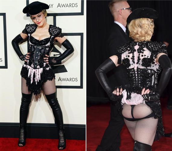 Az 56 éves Madonna az idei Grammy-gálán döntött úgy, hogy a minél szűkebb, annál jobb alapon öltözik fel. Így esett a választása erre a különös ruhára, amelyből a melle és a feneke is kibuggyant, ám a látvány hagyott némi kívánnivalót maga után.