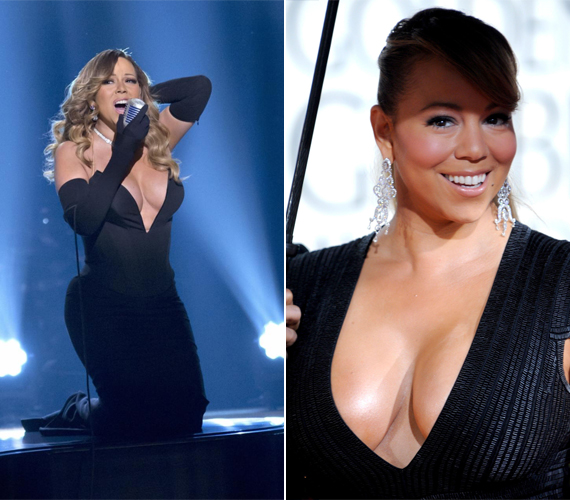 A 45 éves Mariah Carey-től az lenne a furcsa, ha nem testhez simuló ruhában állna a színpadra. Az énekesnő nem fél attól, hogy lecsúszik a ruhája, bátran megmutatja bájait.