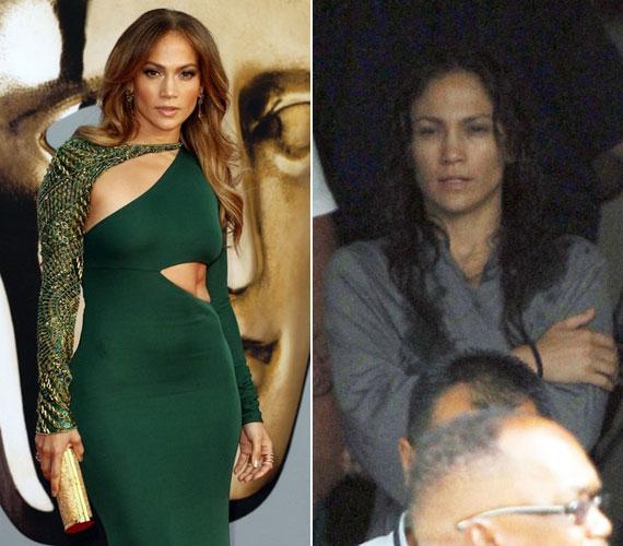 Sápadt és elgyötört arc, csapzott frizura - alig lehetett ráismerni a máskor ragyogó Jennifer Lopezre.