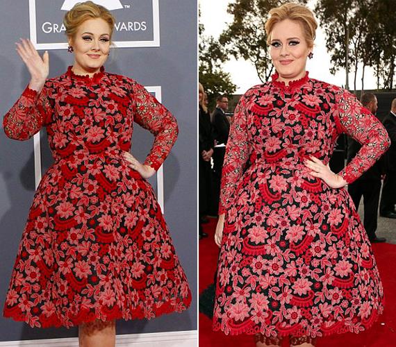 Adele a gyermeke neve körüli nagy titkolózásba talán belefáradt, azért csak a szőnyegbe csavarva érkezett a díjátadóra.