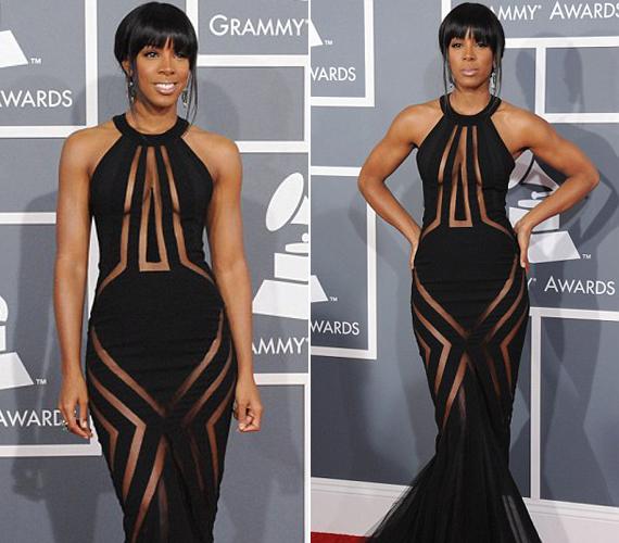 Kelly Rowland ruhája nem sokat bízott a fantáziára, ám a stratégiailag kínos pontokon ízlésesen eltakarta az énekesnőt.