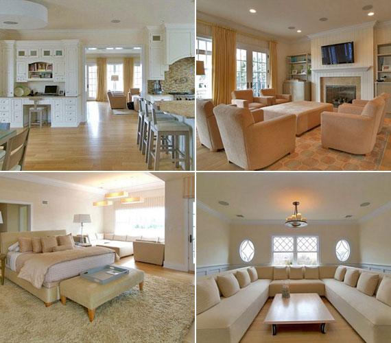 A nappaliban és a hálóban is a fehér és a krémszín dominál: a falak és a bútorok is ilyen színűek.